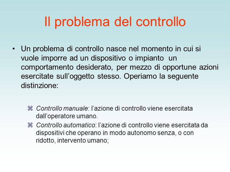 Il problema del controllo Un problema di controllo nasce nel momento in cui si vuole imporre ad un dispositivo o impianto un comportamento desiderato,