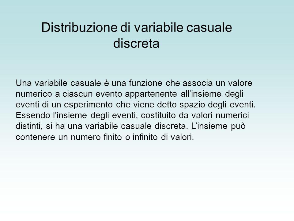 Una variabile casuale è una funzione che associa un valore numerico a ciascun evento appartenente allinsieme degli eventi di un esperimento che viene