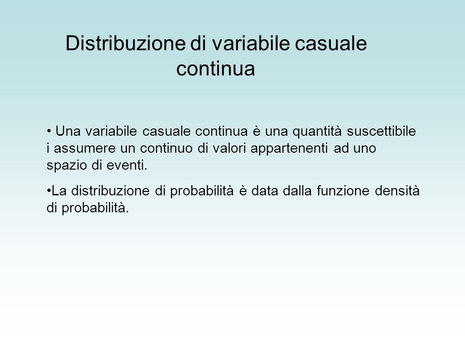 Una variabile casuale continua è una quantità suscettibile i assumere un continuo di valori appartenenti ad uno spazio di eventi. La distribuzione di