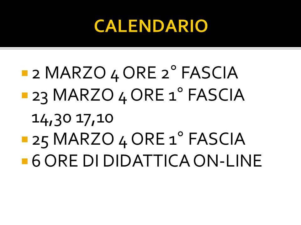 2 MARZO 4 ORE 2° FASCIA 23 MARZO 4 ORE 1° FASCIA 14,30 17,10 25 MARZO 4 ORE 1° FASCIA 6 ORE DI DIDATTICA ON-LINE
