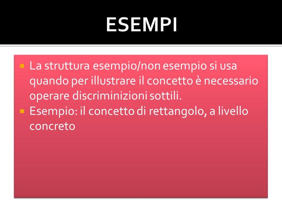 La struttura esempio/non esempio si usa quando per illustrare il concetto è necessario operare discriminizioni sottili.