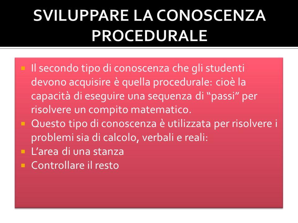 Il secondo tipo di conoscenza che gli studenti devono acquisire è quella procedurale: cioè la capacità di eseguire una sequenza di passi per risolvere un compito matematico.