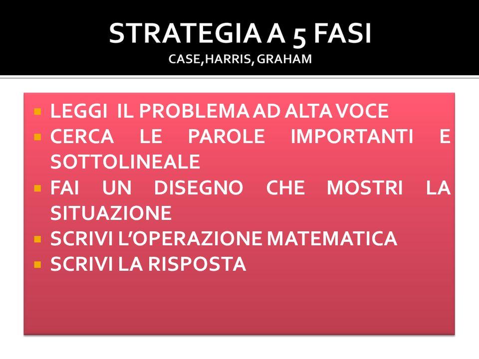 Sviluppare le abilità prerequisite Descrivere la strategia nelle fasi che la compongono Dimostrare la strategia (insegnante) Memorizzare la strategia (studente) Esercitazione con possibilità di controllo delle fasi da parte dello studente