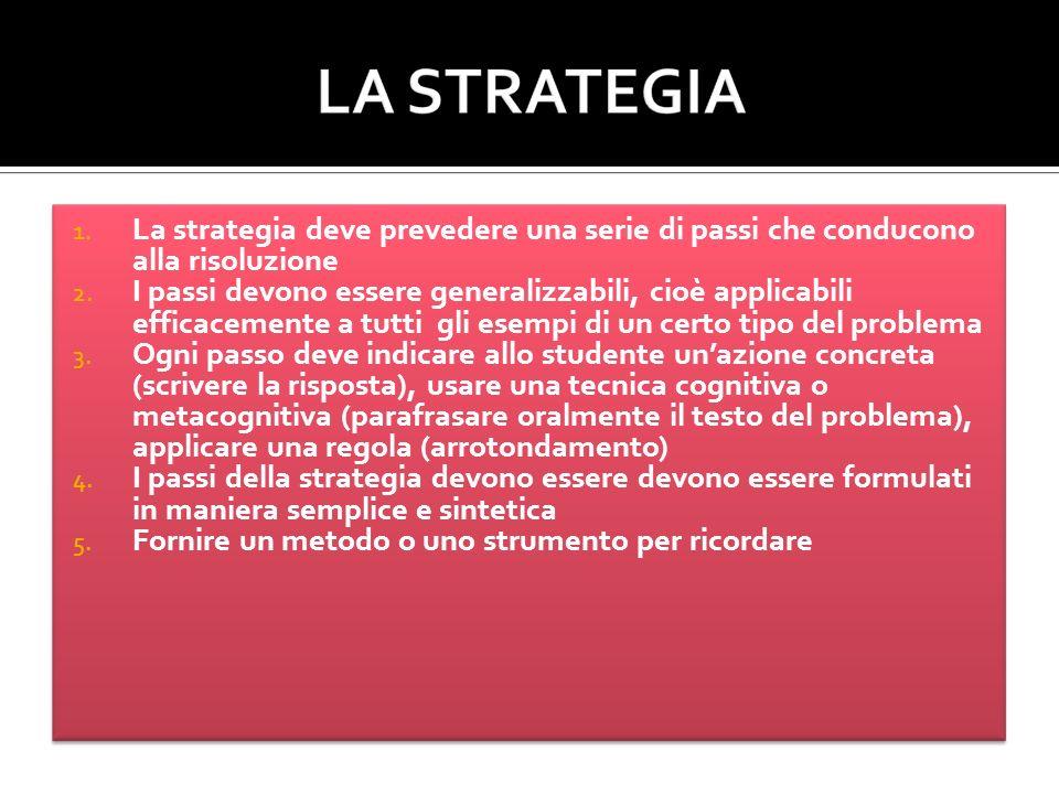 1. La strategia deve prevedere una serie di passi che conducono alla risoluzione 2.