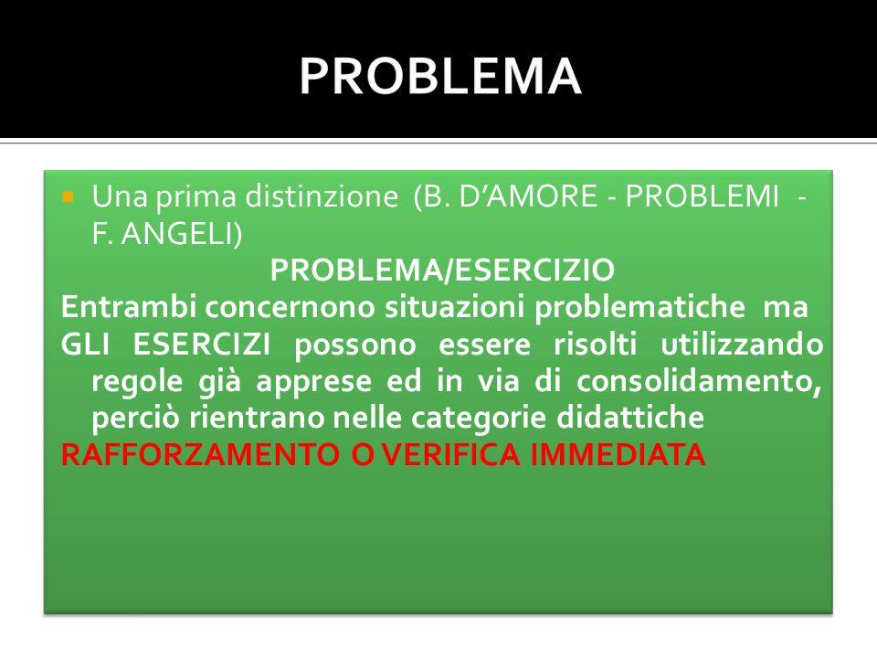 Una prima distinzione (B. DAMORE - PROBLEMI - F.