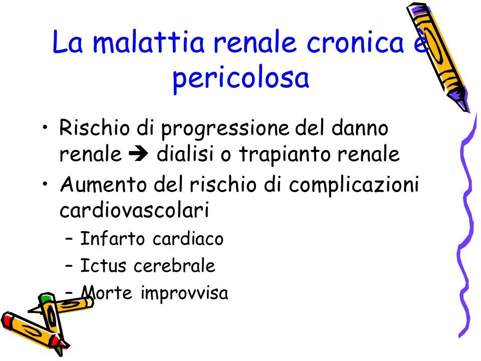 La malattia renale cronica è pericolosa Rischio di progressione del danno renale dialisi o trapianto renale Aumento del rischio di complicazioni cardiovascolari –Infarto cardiaco –Ictus cerebrale –Morte improvvisa