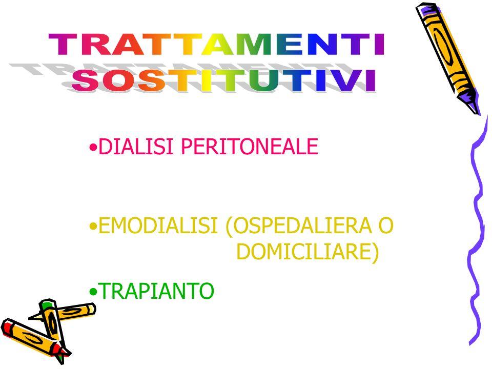 DIALISI PERITONEALE EMODIALISI (OSPEDALIERA O DOMICILIARE) TRAPIANTO