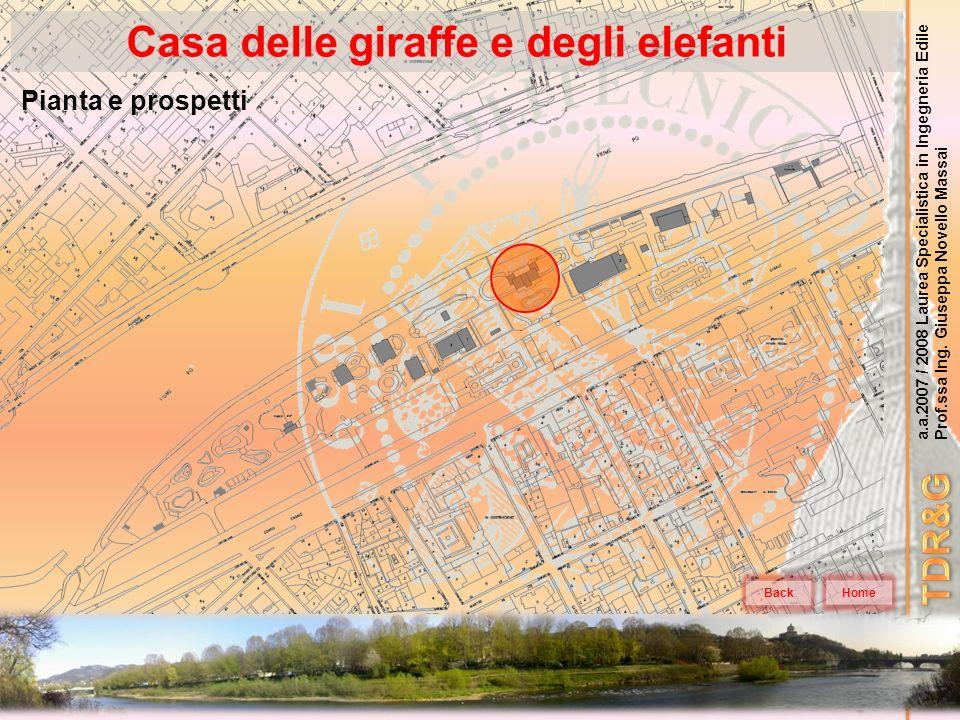 a.a.2007 / 2008 Laurea Specialistica in Ingegneria Edile Prof.ssa Ing. Giuseppa Novello Massai Casa delle giraffe e degli elefanti Home Pianta e prosp