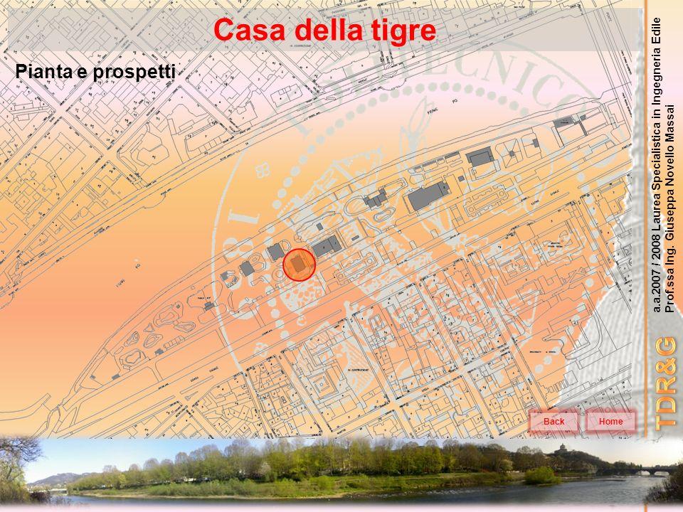 a.a.2007 / 2008 Laurea Specialistica in Ingegneria Edile Prof.ssa Ing. Giuseppa Novello Massai Casa della tigre Home Pianta e prospetti Back