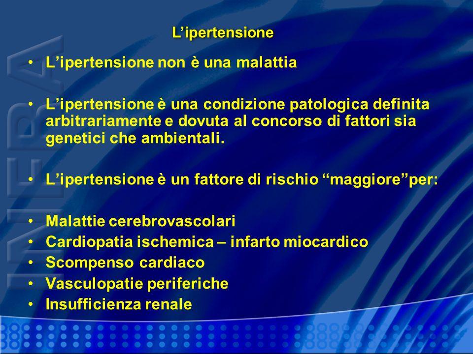 Lipertensione non è una malattia Lipertensione è una condizione patologica definita arbitrariamente e dovuta al concorso di fattori sia genetici che a