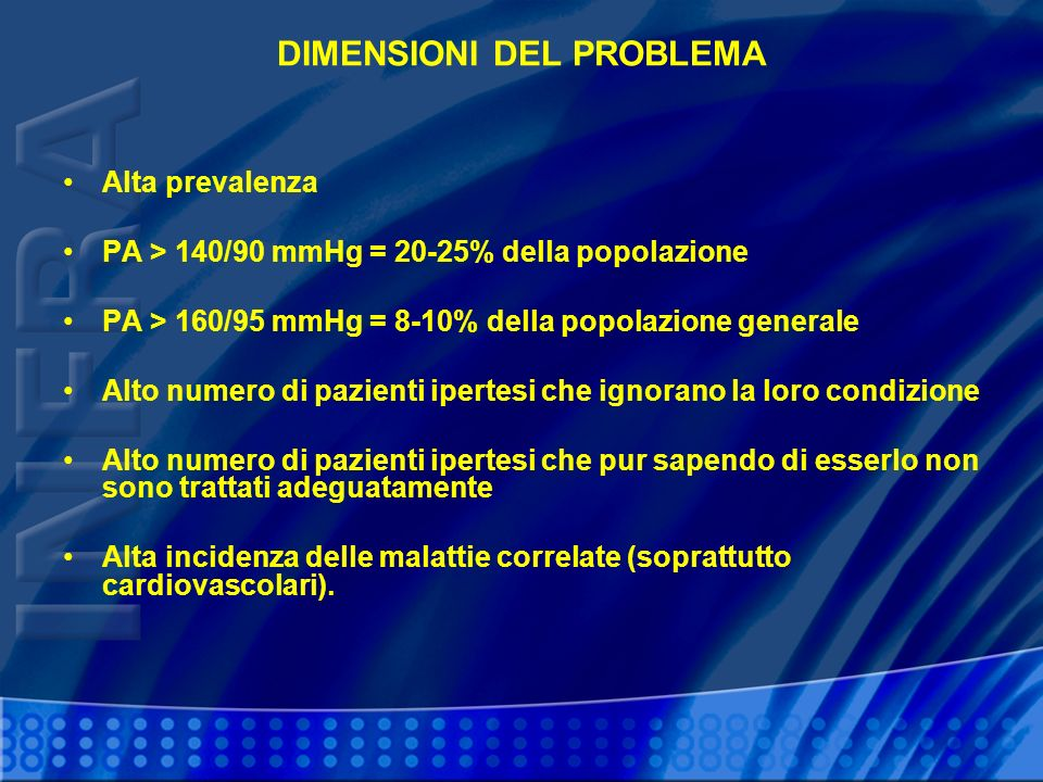 DIMENSIONI DEL PROBLEMA Alta prevalenza PA > 140/90 mmHg = 20-25% della popolazione PA > 160/95 mmHg = 8-10% della popolazione generale Alto numero di