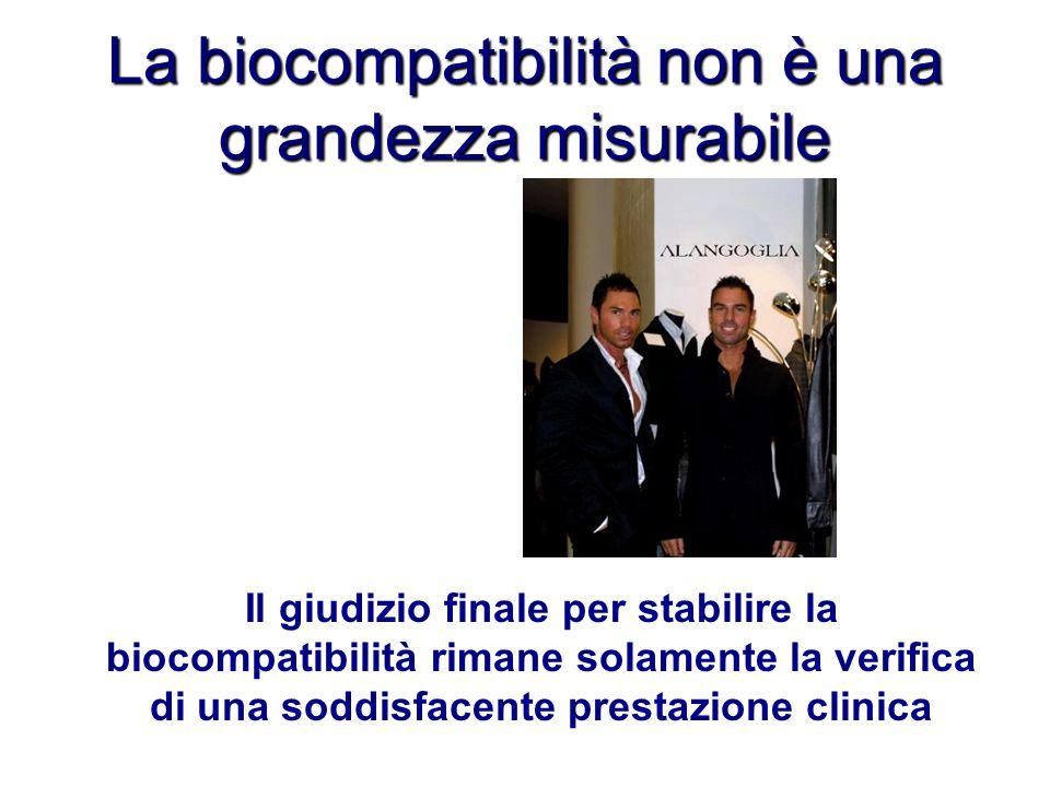 La biocompatibilità non è una grandezza misurabile Il giudizio finale per stabilire la biocompatibilità rimane solamente la verifica di una soddisface