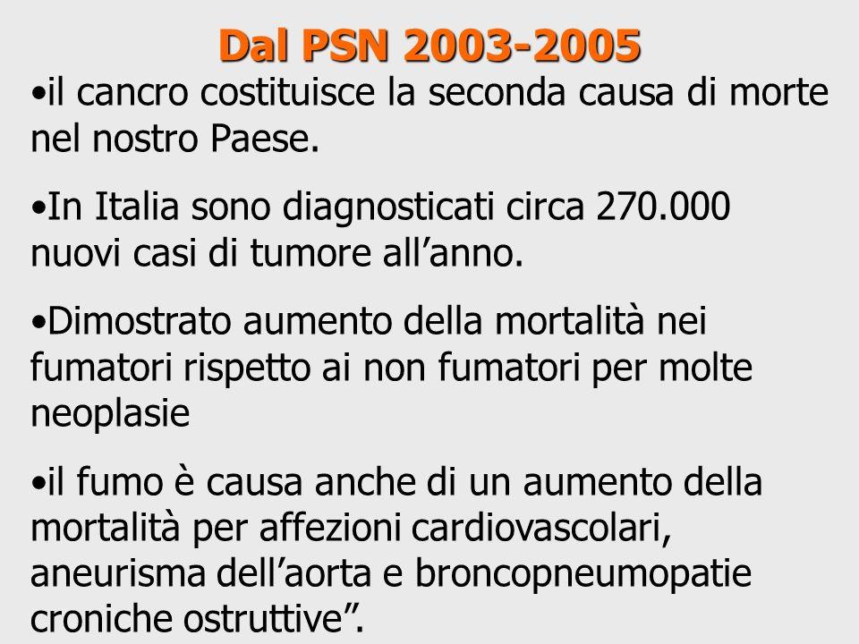 Dal PSN 2003-2005 il cancro costituisce la seconda causa di morte nel nostro Paese.
