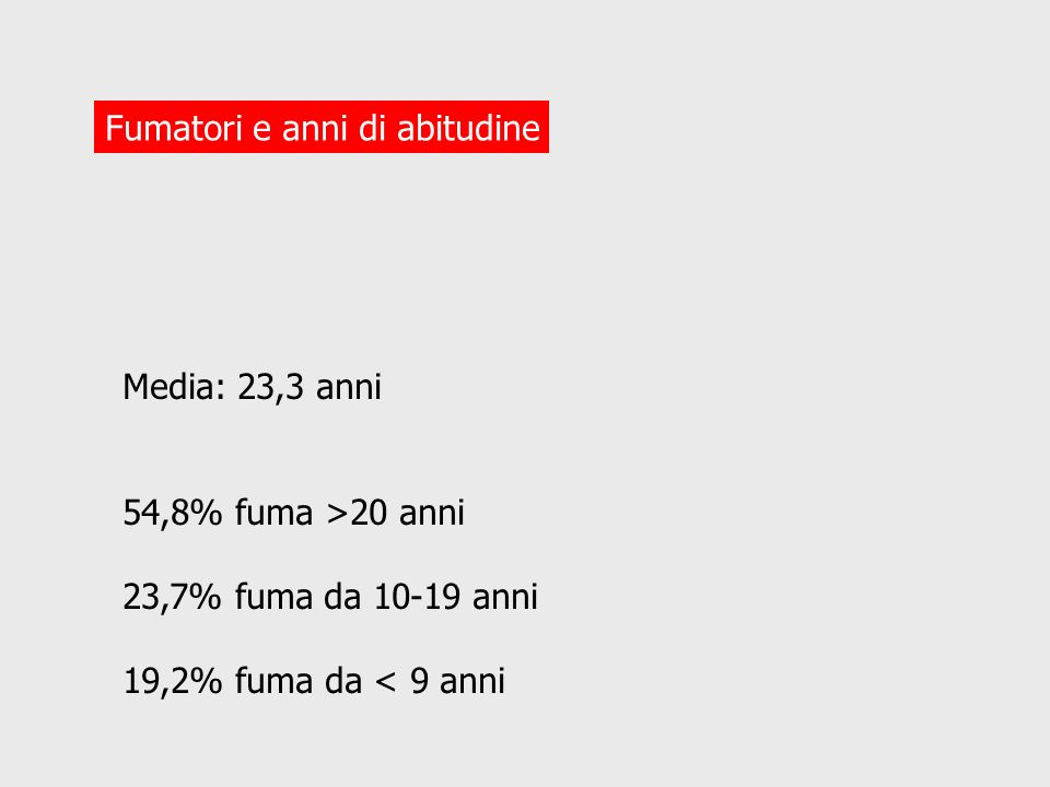 Decessi attribuiti al fumo/ decessi totali (in migliaia) in ITALIA Malattie maschi femmine ETA 35-69 70+ 35- 69 70+ Tumorali2/4314/411,2/25 1,7/34 (50%)(34%)(5%) (5%) CC vasc10/319/770,8/14 2,4/112 (3%)(12%)(6%) (2%) Respirat2,8/4,48,9/170,3/1,5 2,4/12 (64%)(52%)(20%) (20%) Altre3,5/322,6/300,4/13 0,8/45 (15%)(9%)(3%) (2%) Totale38/10236/1662,7/53 7,4/203 (37%)(21%)(5%) (4%) Fonte: Peto R Et al.