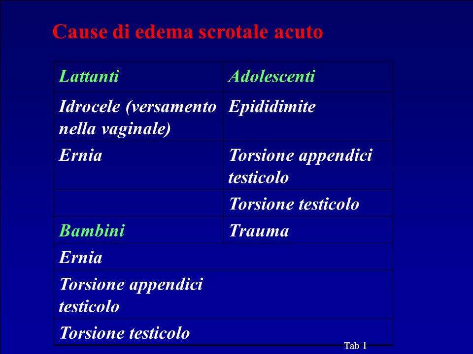 LattantiAdolescenti Idrocele (versamento nella vaginale) Epididimite ErniaTorsione appendici testicolo Torsione testicolo BambiniTrauma Ernia Torsione