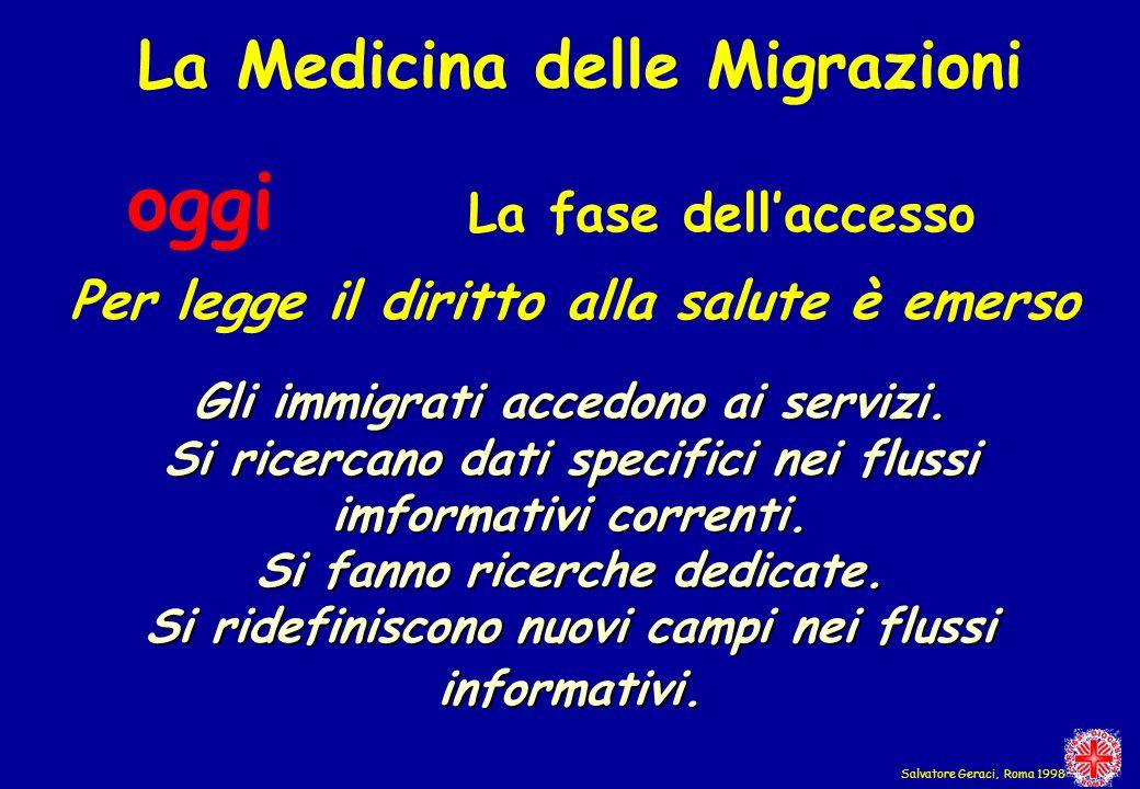 La Medicina delle Migrazioni oggi La fase dellaccesso Per legge il diritto alla salute è emerso Gli immigrati accedono ai servizi. Si ricercano dati s