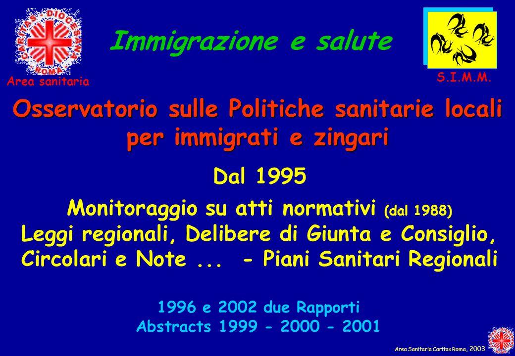 Dal 1995 Monitoraggio su atti normativi (dal 1988) Leggi regionali, Delibere di Giunta e Consiglio, Circolari e Note... - Piani Sanitari Regionali Imm