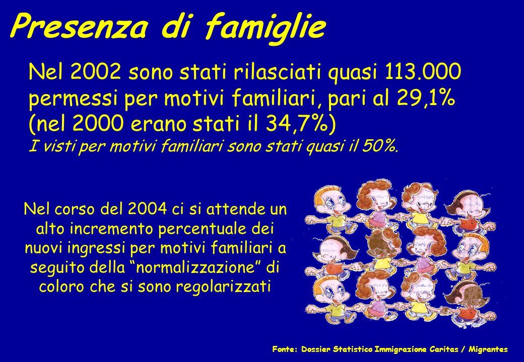 Presenza di famiglie Nel 2002 sono stati rilasciati quasi 113.000 permessi per motivi familiari, pari al 29,1% (nel 2000 erano stati il 34,7%) I visti
