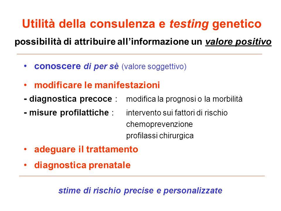 Utilità della consulenza e testing genetico possibilità di attribuire allinformazione un valore positivo conoscere di per sè (valore soggettivo) modif