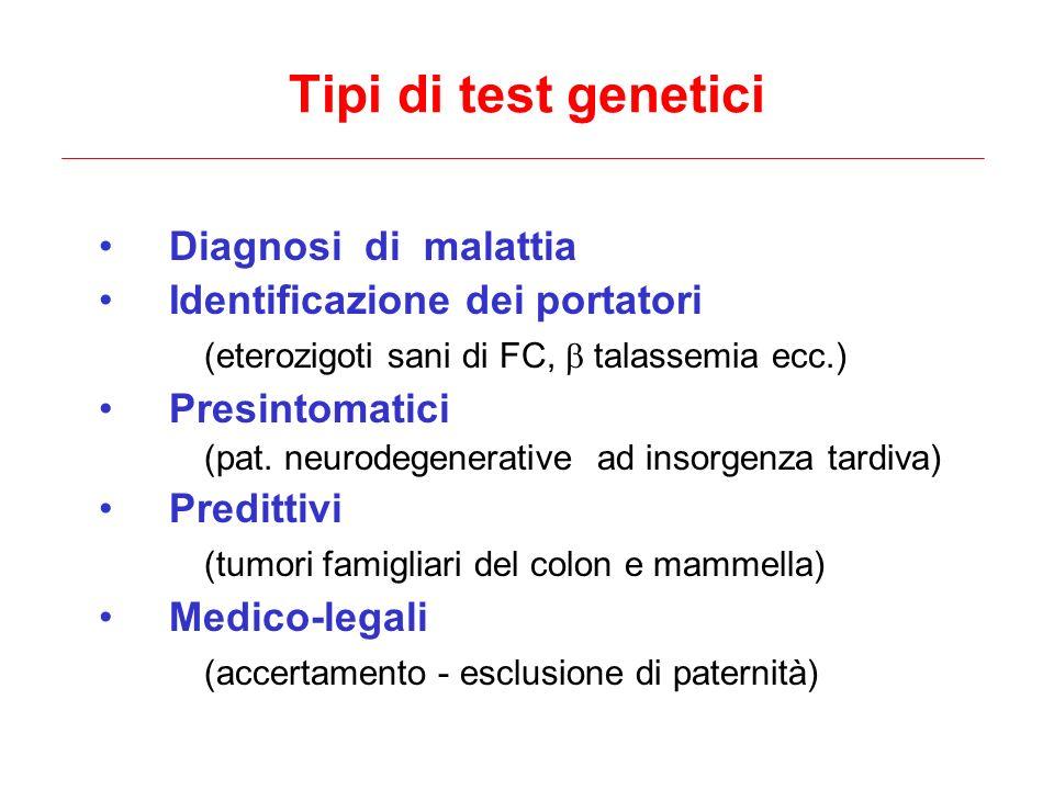 Diagnosi di malattia Identificazione dei portatori (eterozigoti sani di FC, talassemia ecc.) Presintomatici (pat. neurodegenerative ad insorgenza tard