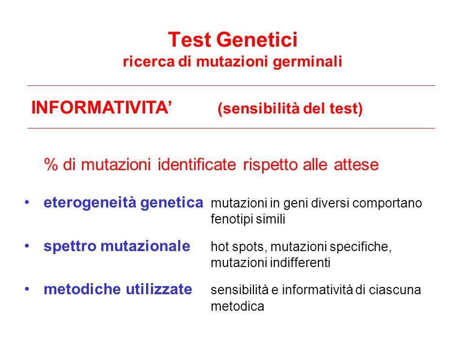 INFORMATIVITA (sensibilità del test) % di mutazioni identificate rispetto alle attese eterogeneità genetica mutazioni in geni diversi comportano fenot