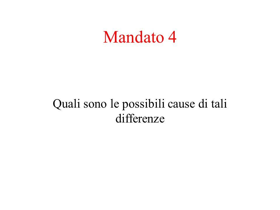 Mandato 4 Quali sono le possibili cause di tali differenze
