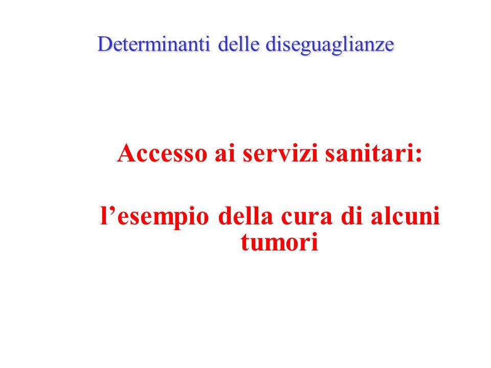 Determinanti delle diseguaglianze Accesso ai servizi sanitari: lesempio della cura di alcuni tumori