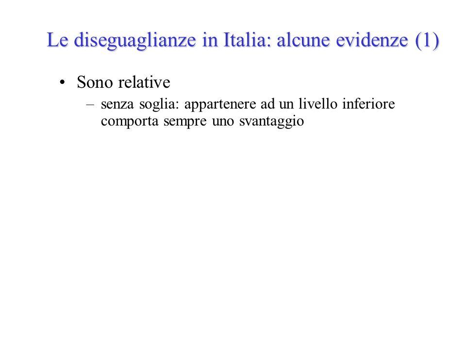 Le diseguaglianze in Italia: alcune evidenze (1) Sono relative –senza soglia: appartenere ad un livello inferiore comporta sempre uno svantaggio