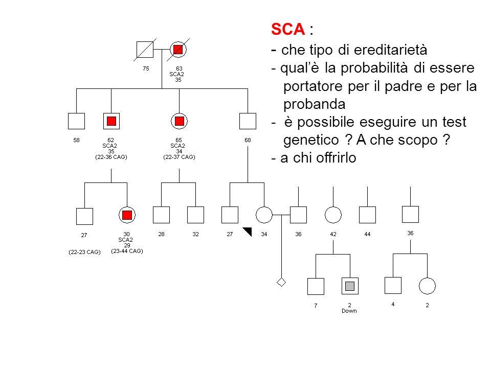 SCA : - che tipo di ereditarietà - qualè la probabilità di essere portatore per il padre e per la probanda - è possibile eseguire un test genetico ? A