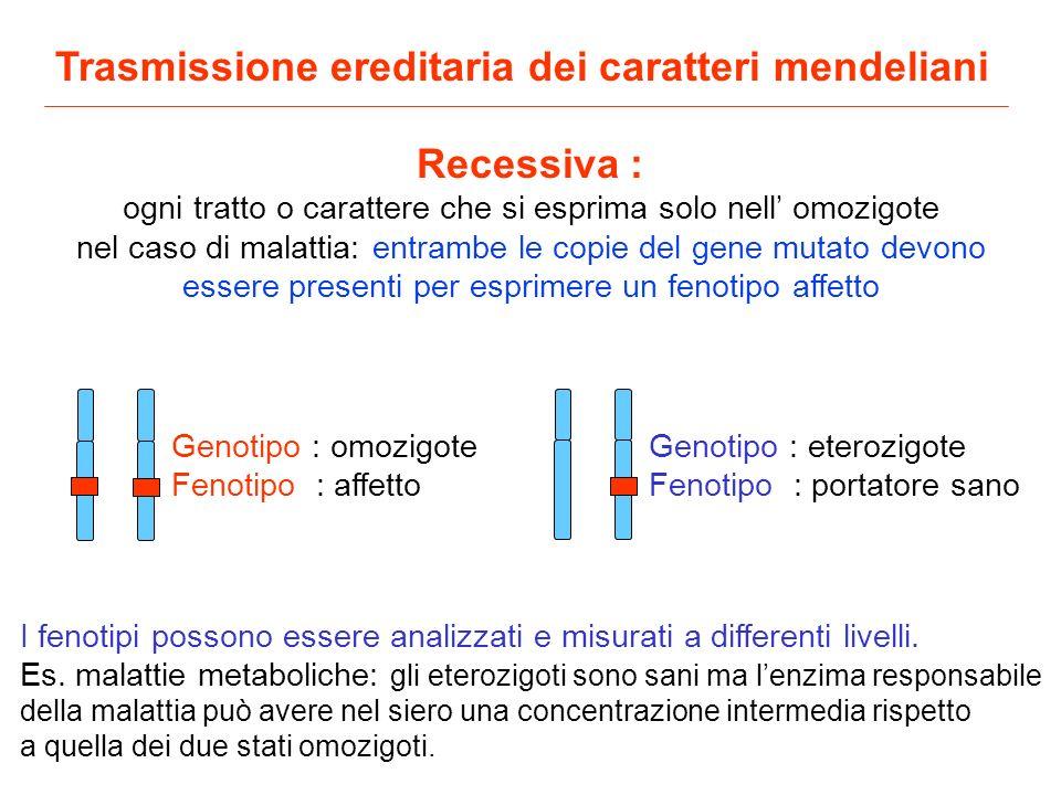 Recessiva : ogni tratto o carattere che si esprima solo nell omozigote nel caso di malattia: entrambe le copie del gene mutato devono essere presenti