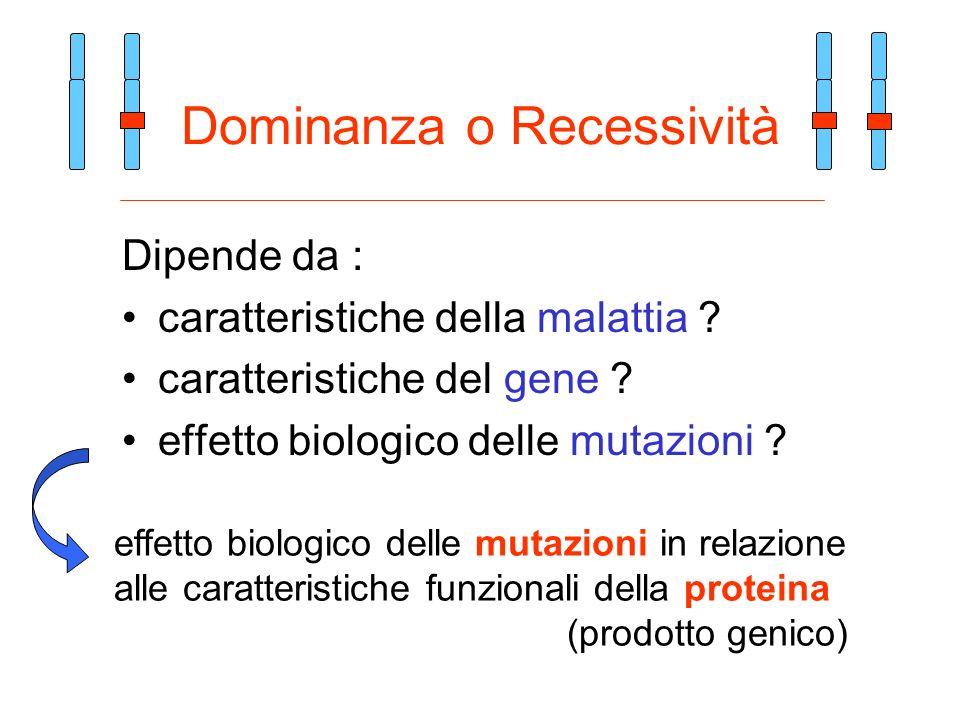 Dominanza o Recessività Dipende da : caratteristiche della malattia ? caratteristiche del gene ? effetto biologico delle mutazioni ? effetto biologico