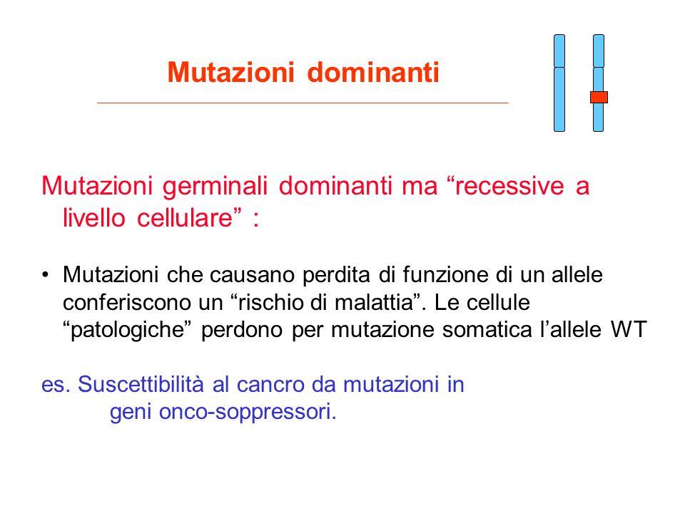 Mutazioni dominanti Mutazioni germinali dominanti ma recessive a livello cellulare : Mutazioni che causano perdita di funzione di un allele conferisco
