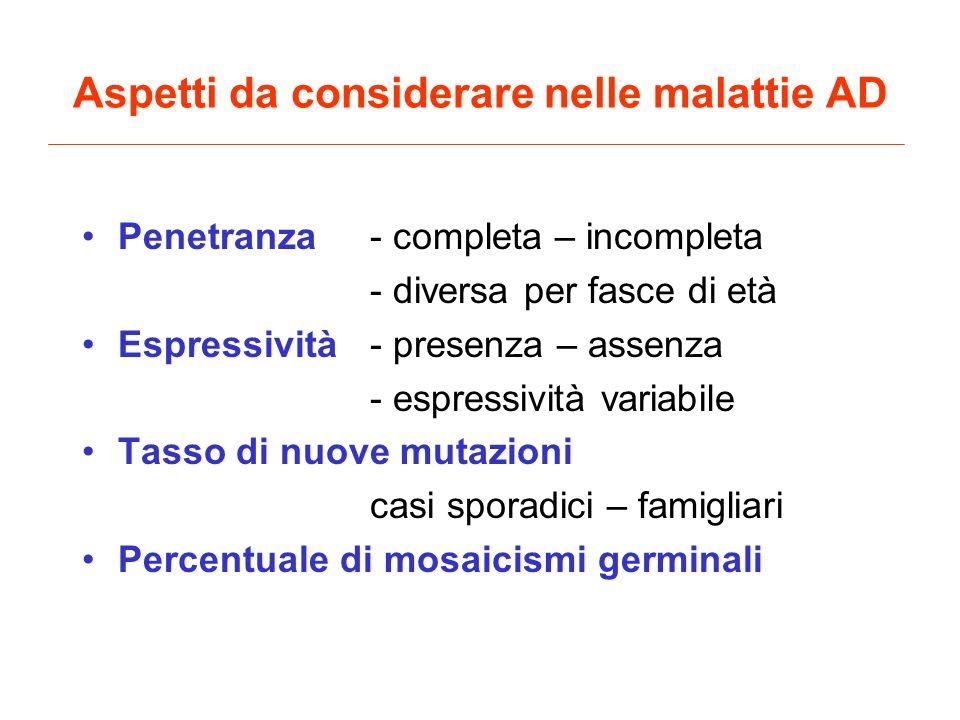 Aspetti da considerare nelle malattie AD Penetranza- completa – incompleta - diversa per fasce di età Espressività- presenza – assenza - espressività