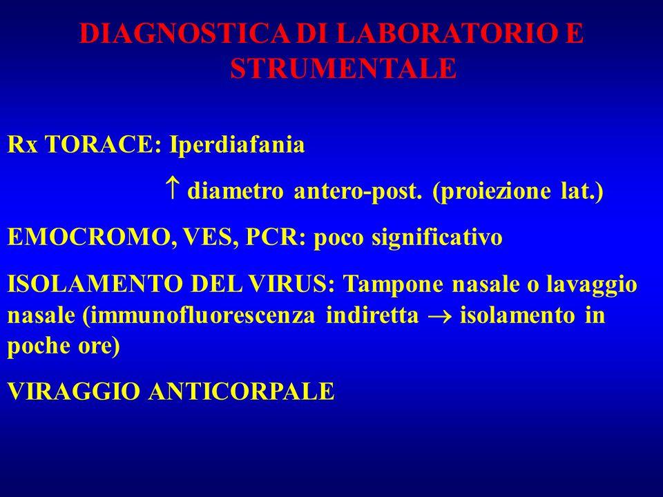 DIAGNOSTICA DI LABORATORIO E STRUMENTALE Rx TORACE: Iperdiafania diametro antero-post. (proiezione lat.) EMOCROMO, VES, PCR: poco significativo ISOLAM