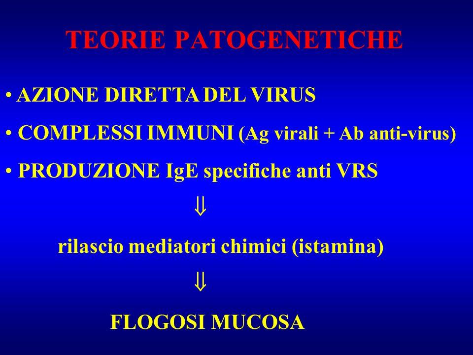 TEORIE PATOGENETICHE AZIONE DIRETTA DEL VIRUS COMPLESSI IMMUNI (Ag virali + Ab anti-virus) PRODUZIONE IgE specifiche anti VRS rilascio mediatori chimi