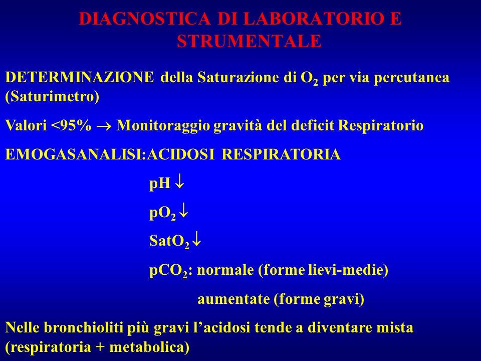 DIAGNOSTICA DI LABORATORIO E STRUMENTALE DETERMINAZIONE della Saturazione di O 2 per via percutanea (Saturimetro) Valori <95% Monitoraggio gravità del
