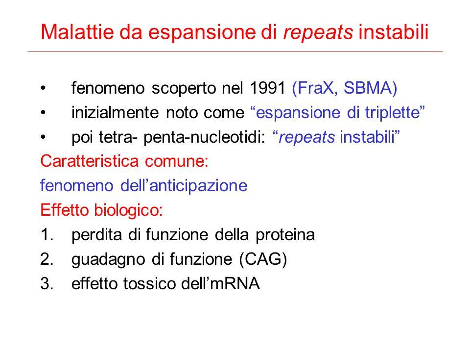 Malattie da espansione di repeats instabili fenomeno scoperto nel 1991 (FraX, SBMA) inizialmente noto come espansione di triplette poi tetra- penta-nu