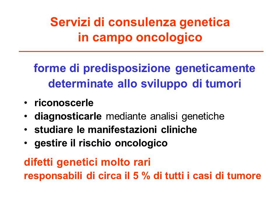 Servizi di consulenza genetica in campo oncologico forme di predisposizione geneticamente determinate allo sviluppo di tumori riconoscerle diagnostica