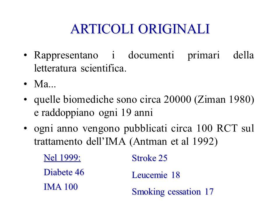 ARTICOLIORIGINALI ARTICOLI ORIGINALI Rappresentano i documenti primari della letteratura scientifica. Ma... quelle biomediche sono circa 20000 (Ziman