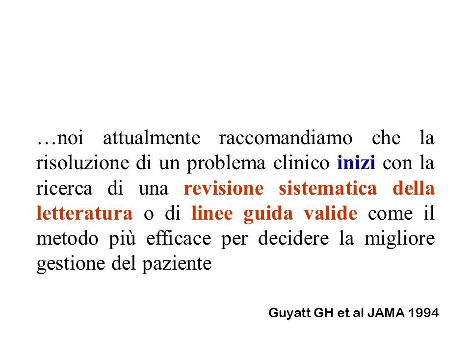 …noi attualmente raccomandiamo che la risoluzione di un problema clinico inizi con la ricerca di una revisione sistematica della letteratura o di line