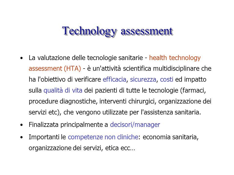 Technology assessment La valutazione delle tecnologie sanitarie - health technology assessment (HTA) - è un'attività scientifica multidisciplinare che