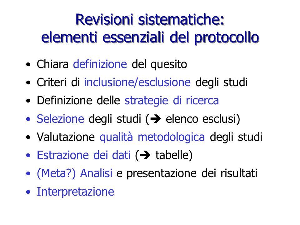 Revisioni sistematiche: elementi essenziali del protocollo Chiara definizione del quesito Criteri di inclusione/esclusione degli studi Definizione del