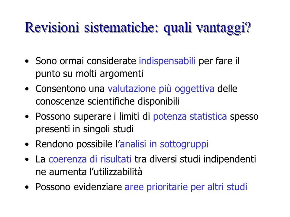 Revisioni sistematiche: quali vantaggi? Sono ormai considerate indispensabili per fare il punto su molti argomenti Consentono una valutazione più ogge