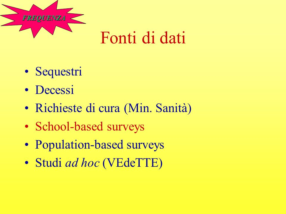 Fonti di dati Sequestri Decessi Richieste di cura (Min. Sanità) School-based surveys Population-based surveys Studi ad hoc (VEdeTTE) FREQUENZA