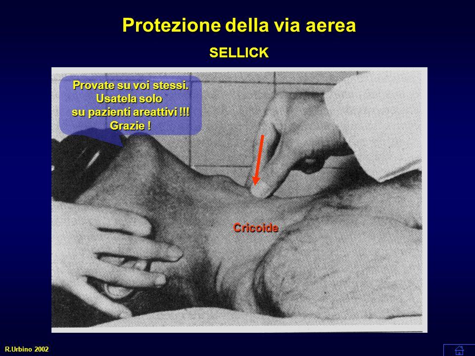 Cricoide Protezione della via aerea SELLICK R.Urbino 2002 Provate su voi stessi. Usatela solo su pazienti areattivi !!! Grazie !