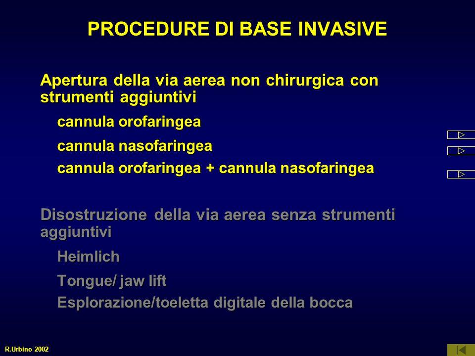 PROCEDURE DI BASE INVASIVE Apertura della via aerea non chirurgica con strumenti aggiuntivi cannula orofaringea cannula orofaringea cannula nasofaring