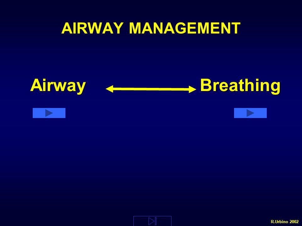 Airway PROCEDURE DI BASE NON INVASIVEPROCEDURE DI BASE NON INVASIVE PROCEDURE DI BASE INVASIVEPROCEDURE DI BASE INVASIVE PROCEDURE AVANZATE INVASIVE NON CRUENTEPROCEDURE AVANZATE INVASIVE NON CRUENTE PROCEDURE AVANZATE CRUENTEPROCEDURE AVANZATE CRUENTE DISOSTRUZIONE DELLA VIA AEREA : Corpo estraneoDISOSTRUZIONE DELLA VIA AEREA : Corpo estraneo R.Urbino 2002 Airway Breathing Airway Breathing DEF TEMP