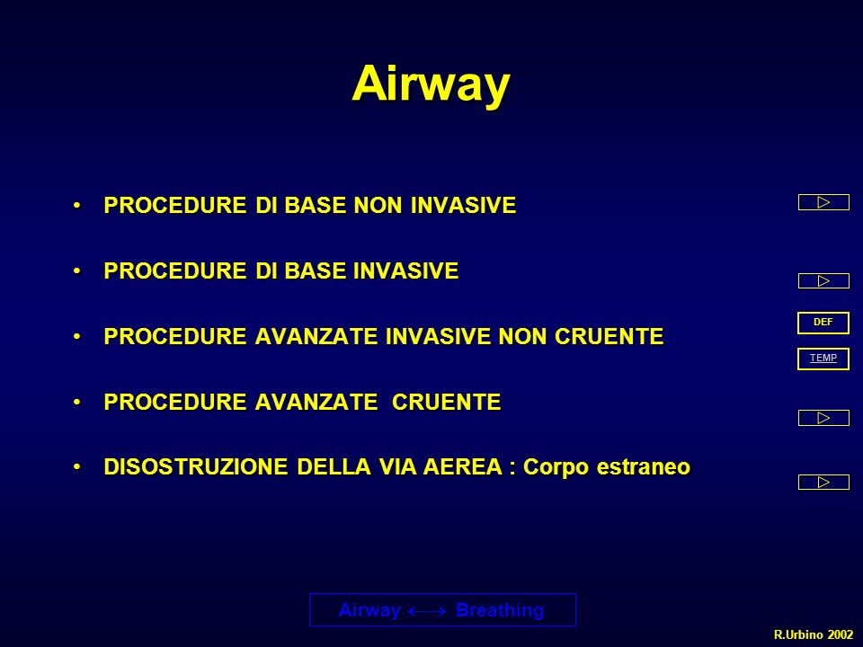 Airway PROCEDURE DI BASE NON INVASIVEPROCEDURE DI BASE NON INVASIVE PROCEDURE DI BASE INVASIVEPROCEDURE DI BASE INVASIVE PROCEDURE AVANZATE INVASIVE N