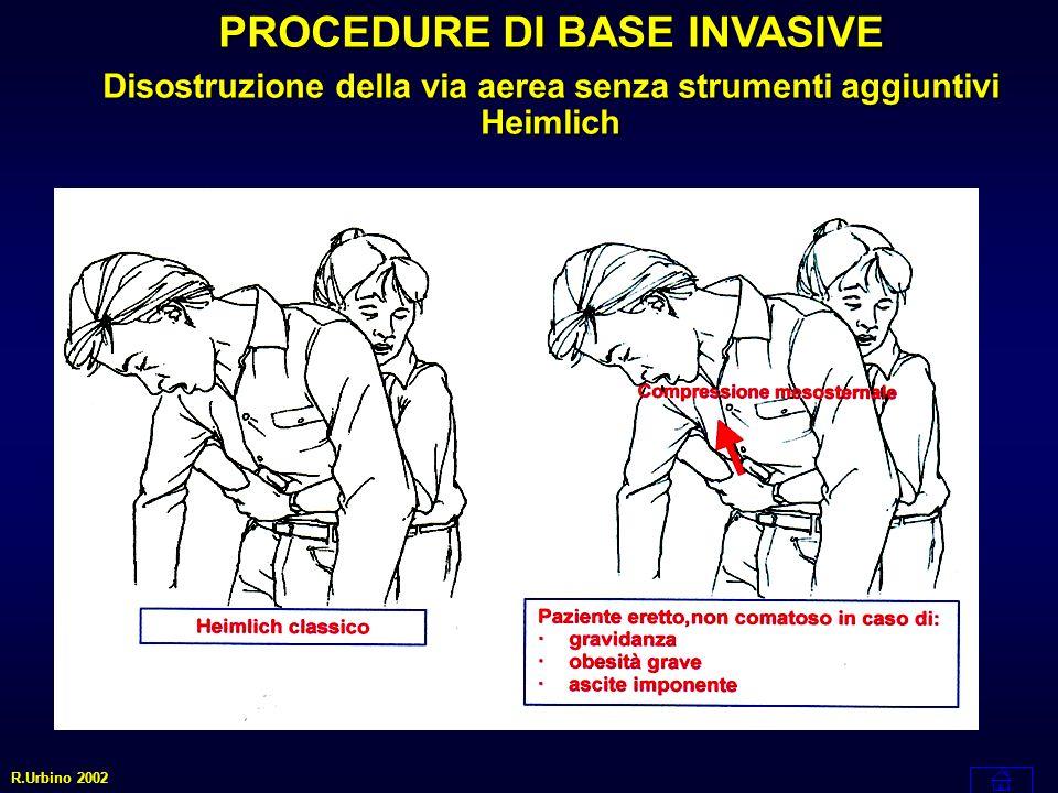 PROCEDURE DI BASE INVASIVE Disostruzione della via aerea senza strumenti aggiuntivi Heimlich R.Urbino 2002