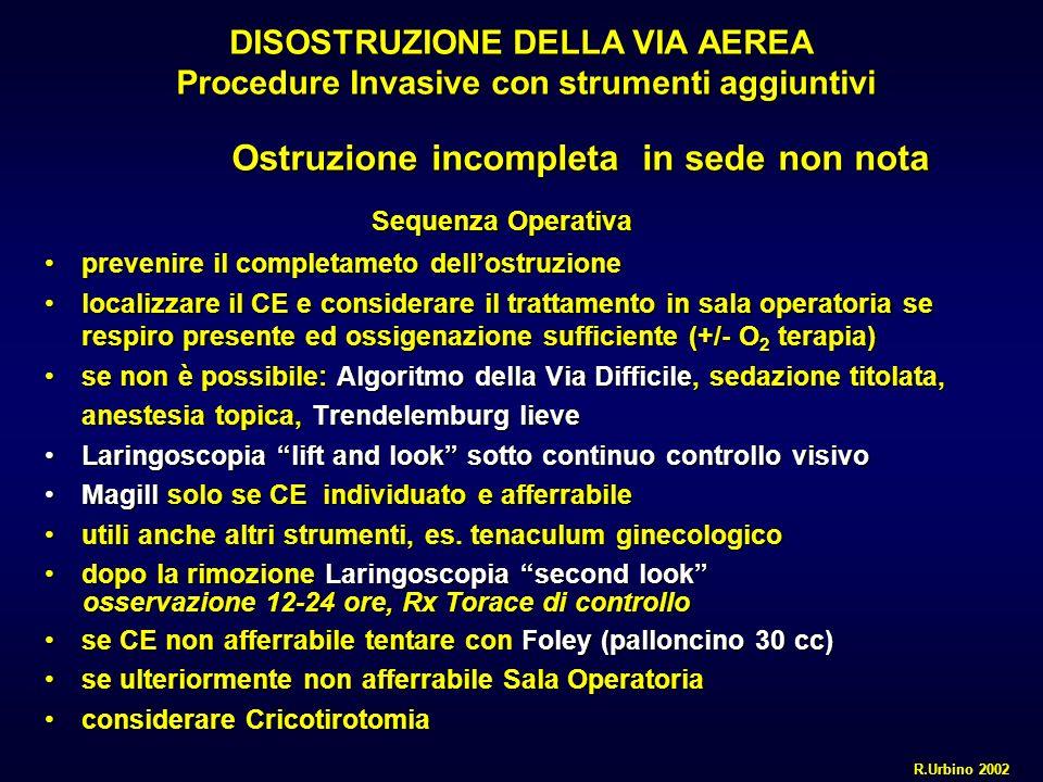 DISOSTRUZIONE DELLA VIA AEREA Procedure Invasive con strumenti aggiuntivi Ostruzione incompleta in sede non nota Ostruzione incompleta in sede non not